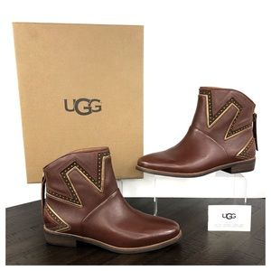 🆕 UGG Lars Brown Studded Leather Ankle Boots